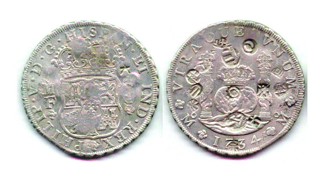 Felipe V 8Rles 1734 Mexico MF con resello Sumatra y chop 23s9cti