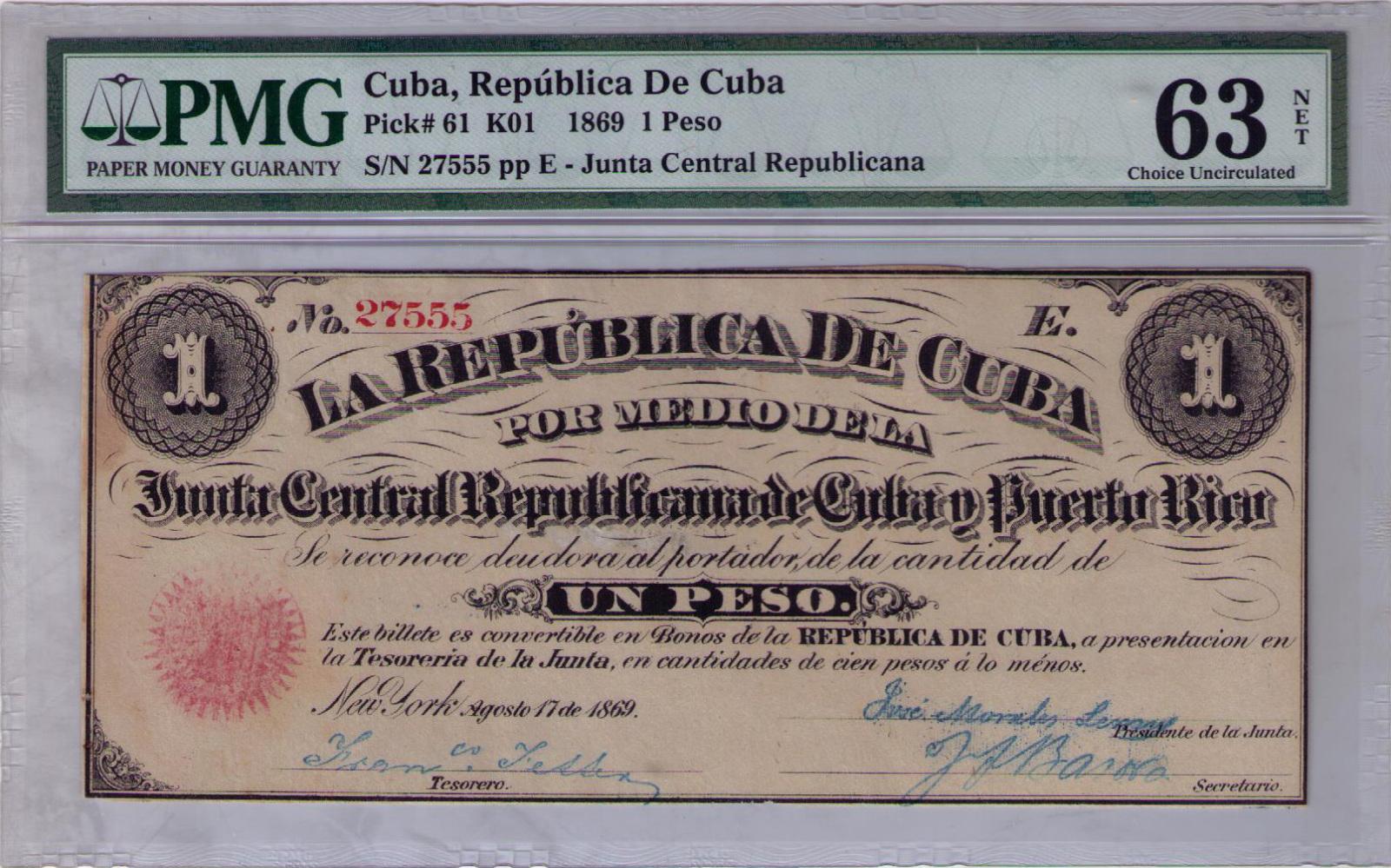 1 Peso 1.869 Junta Revolucionaria de Cuba y Puerto Rico 28tkokw
