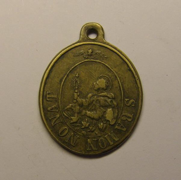 Medalla de San Ramon Nonato y San Juan Evangelista - Patron por los Rayos (R.M. SXIX-O64) 2ljsw45