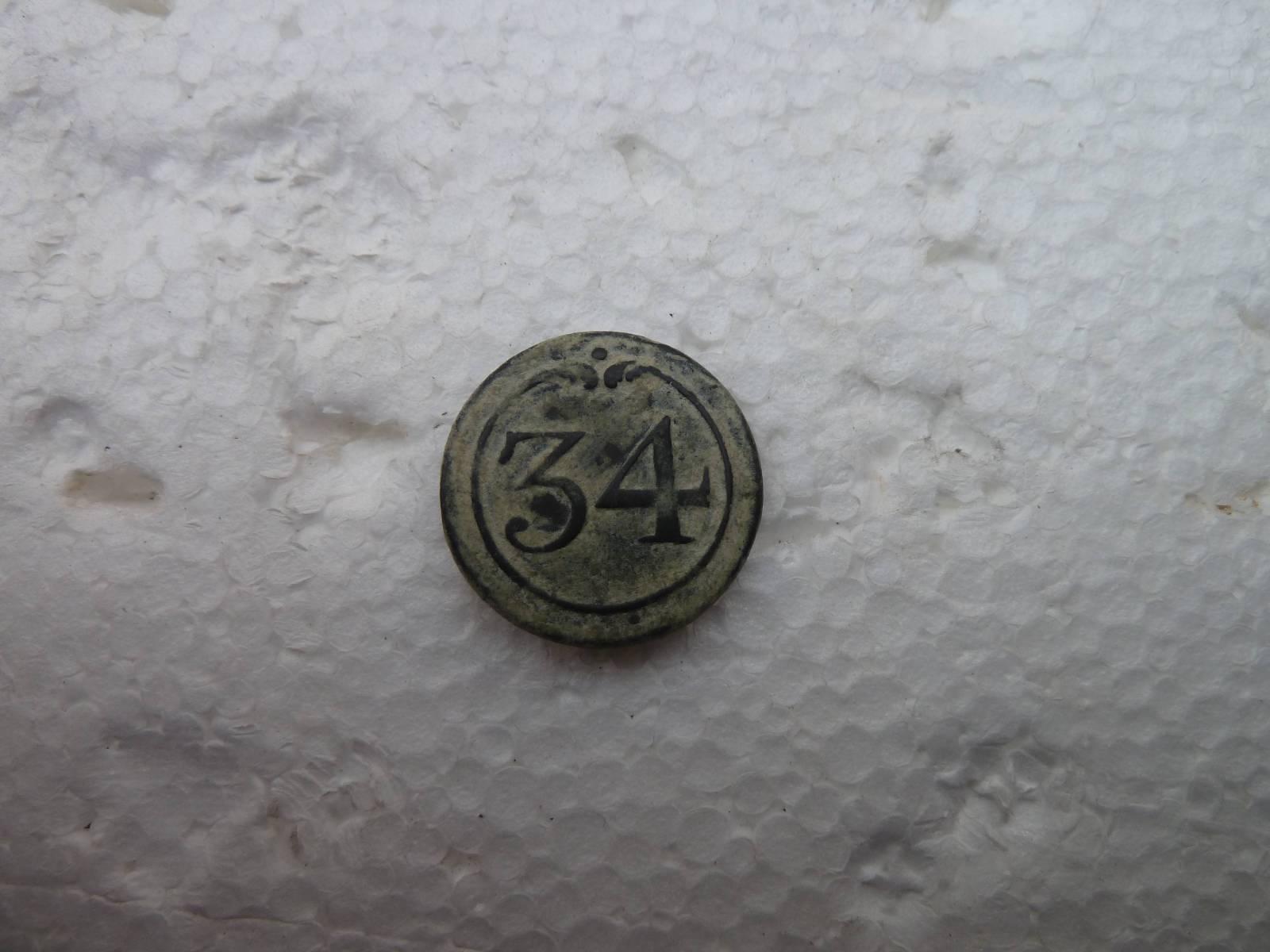 Botón del 34 Rgto. de Infantería de Línea, francés 1803-1815 2qntzt0