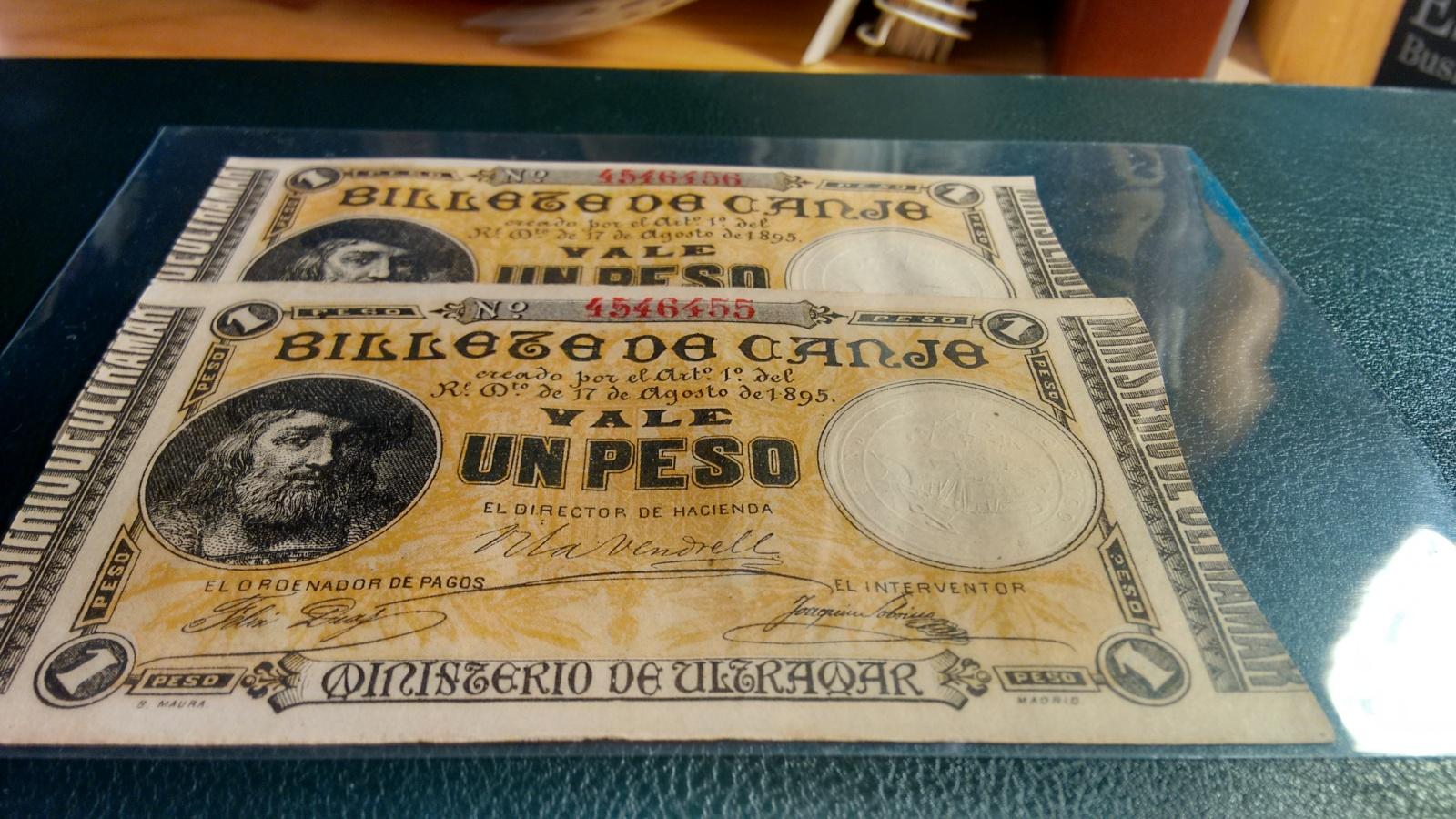 1 Peso 1895 Ultramar PUERTO RICO - Pareja correlativa - Ponce de León 33jtfzo
