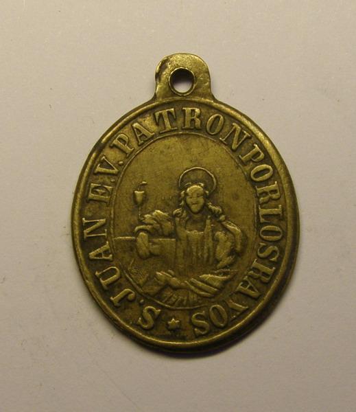 Medalla de San Ramon Nonato y San Juan Evangelista - Patron por los Rayos (R.M. SXIX-O64) K21frm