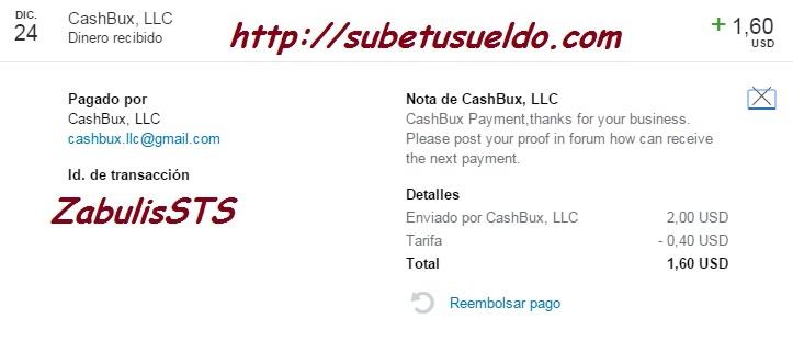 1º Pago CashBux - 1,60$ paypal Qq77tf