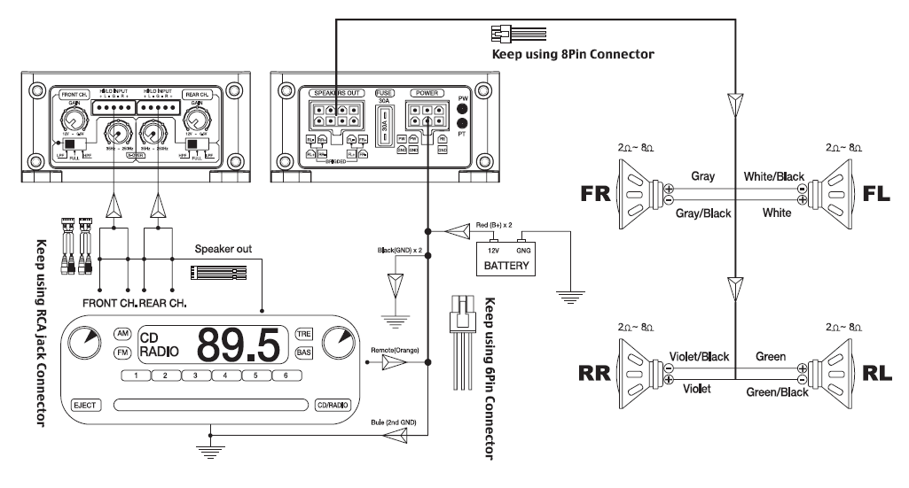 hifi car collegare 2 amplificatori  24d4sic