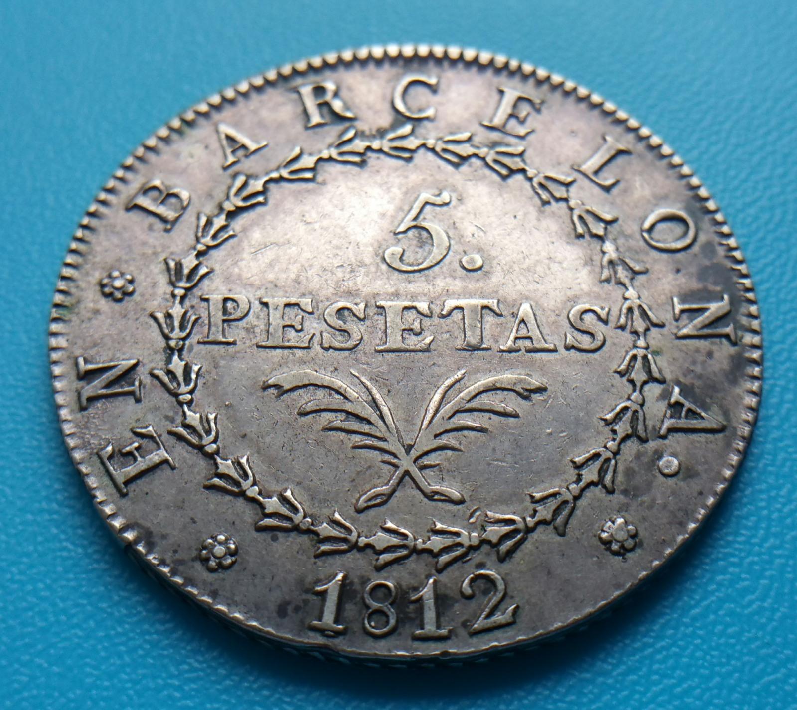 5 pesetas 1812. Barcelona. Ocupación francesa 289j6yu
