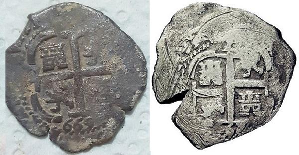 2 reales macuquinos, de Carlos II, ceca de potosi. 2gua460