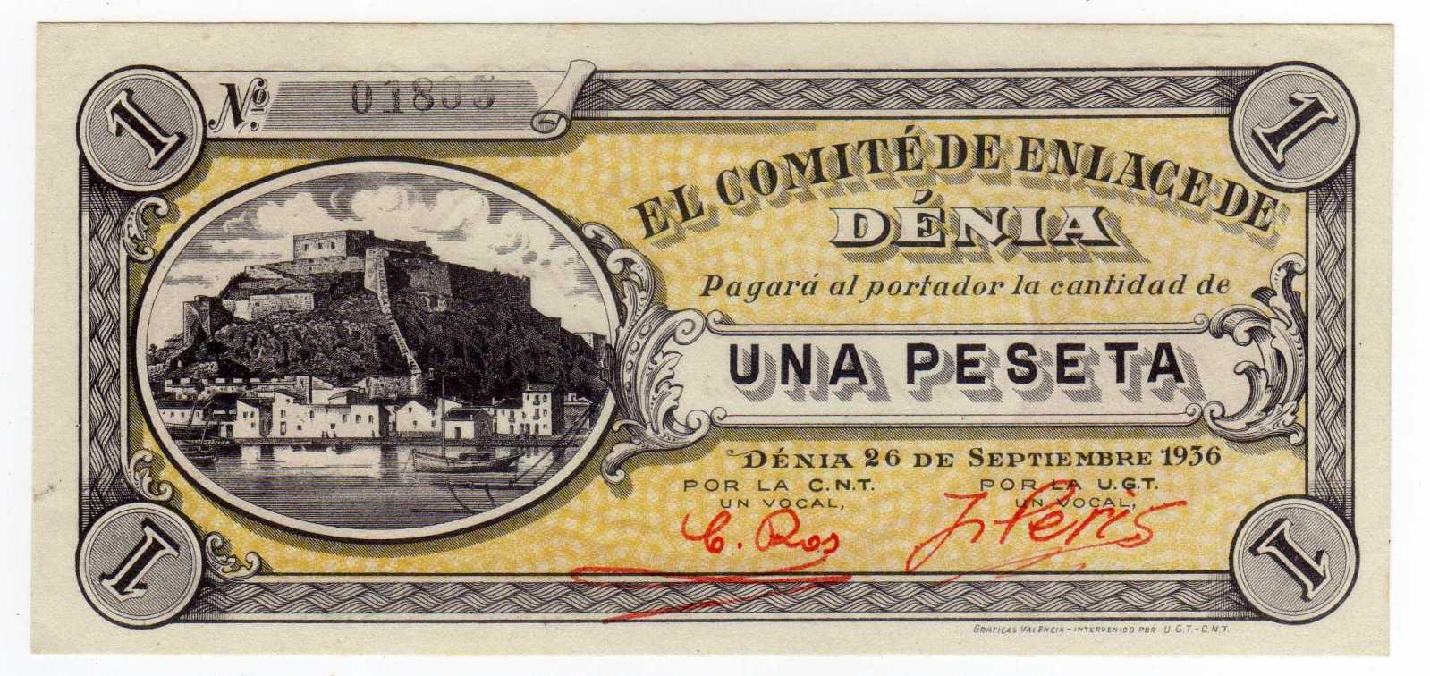 1 Peseta Denia 1936 2lcpudf
