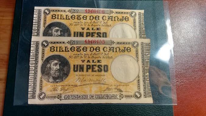 1 Peso 1895 Ultramar PUERTO RICO - Pareja correlativa - Ponce de León 2lo0kcg