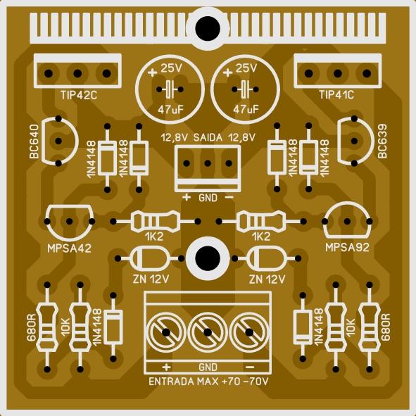 Regulador simétrico para pré amplificador 2r7t5px