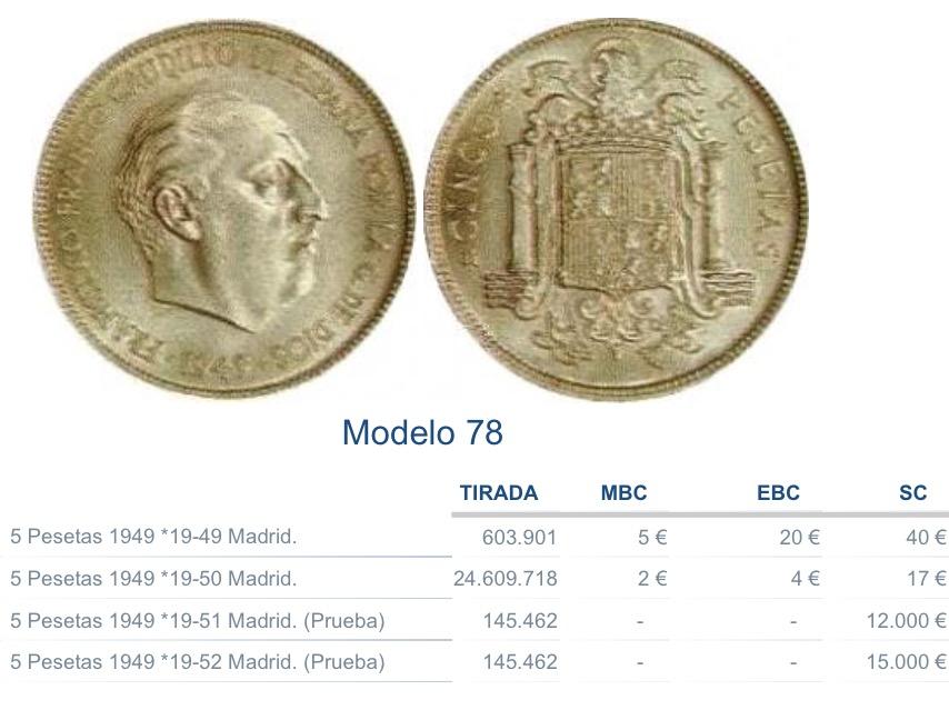 5 pesetas 1949 (*19-50). Estado Español 2s7c18n