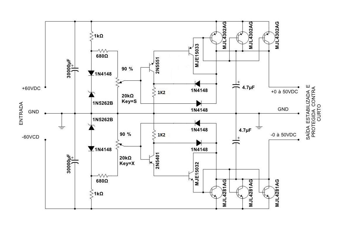 Regulador simétrico para pré amplificador 2w74m6x