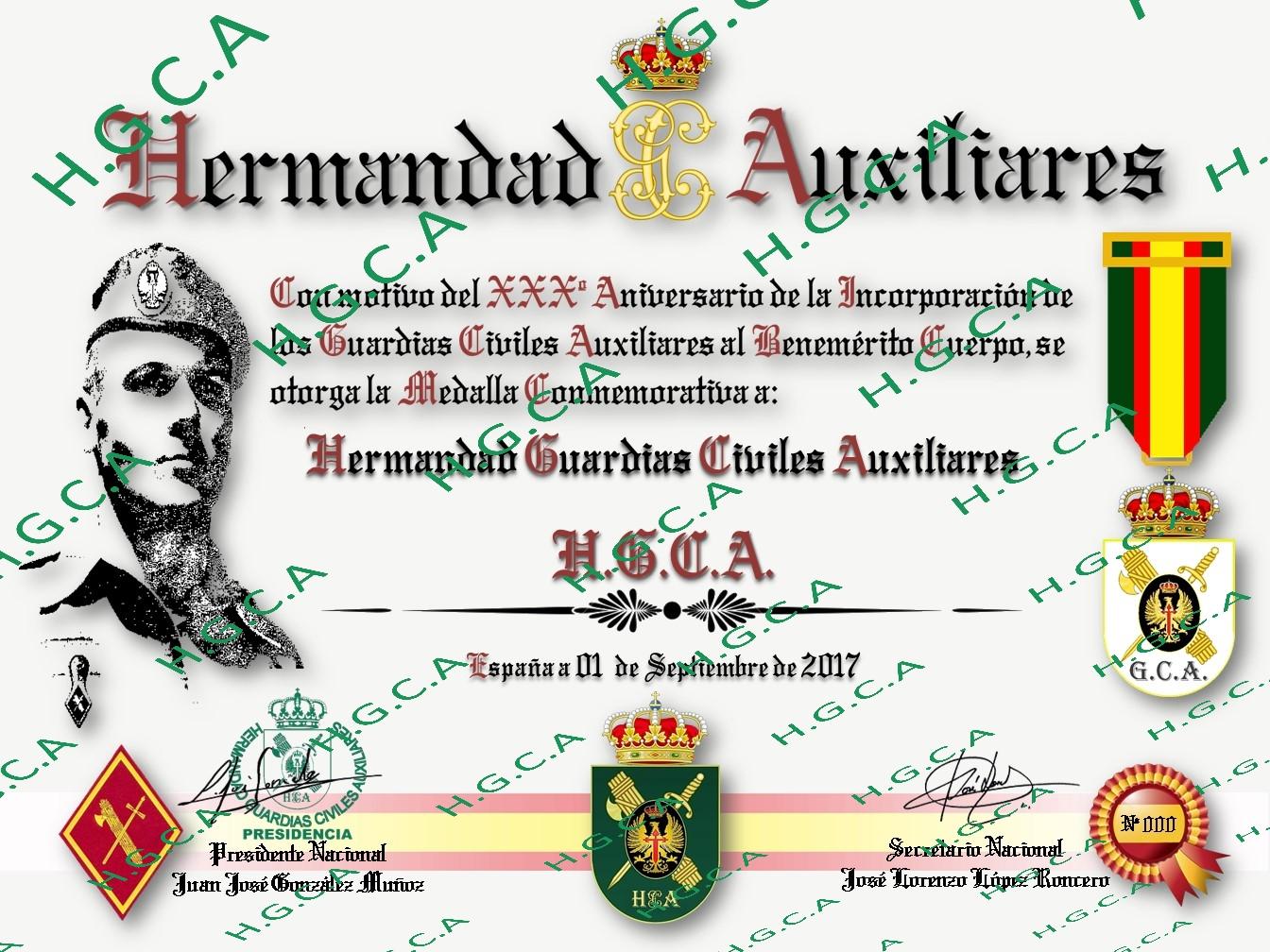 MEDALLA XXX ANIVERSARIO DEL GUARDIA CIVIL AUXILIAR 352krx4