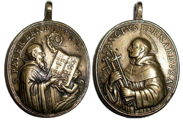 Medalla de San Bernardo y San Benito, siglo XVIII. 5mjwgl