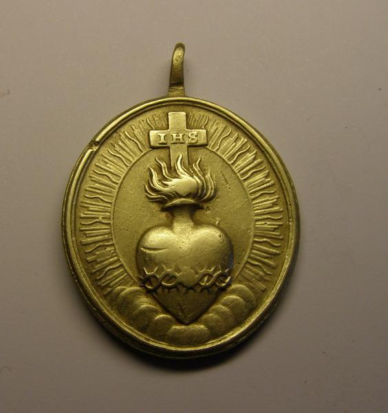 Medalla de San Agustin, y Sagrado Corazón, ¿siglo XVIII? (R.M. SXVIII-O302) 5p24io