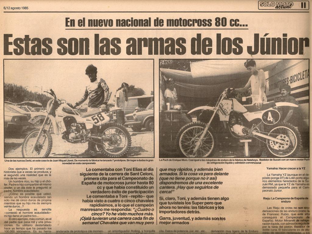 Las Motos de los Juniors 80 cc - 1985 Hwd35t