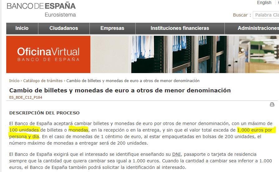 Límite máximo de monedas que se pueden retirar del Banco de España N6f0v6
