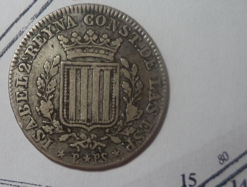 1 Peseta 1837. Isabel II. Barcelona Nmz23b