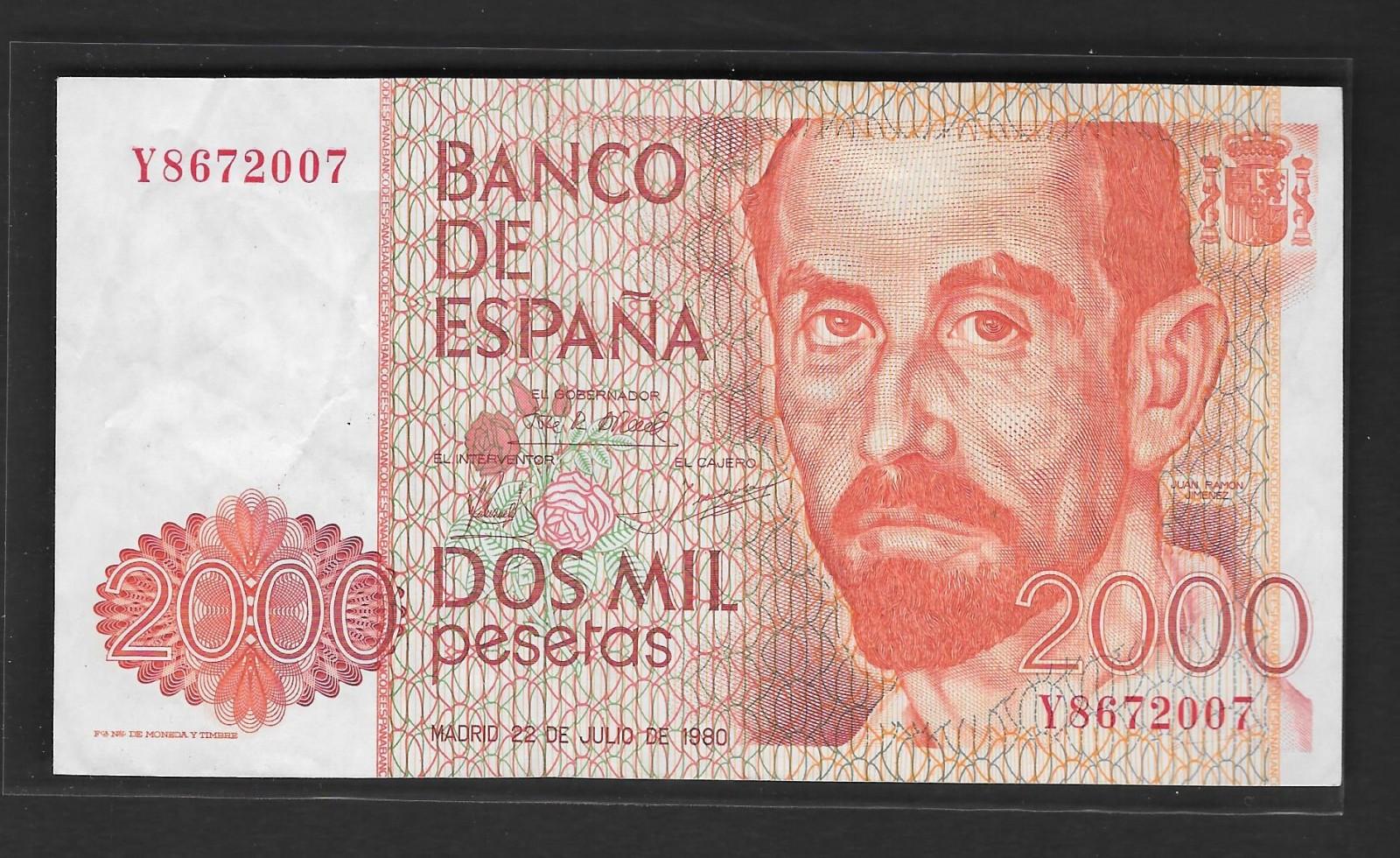 2000 pesetas, 1980, serie Y, con error en reverso. Vynzna