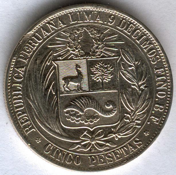 Peru 5 Pesetas 1880 Vyqjxf