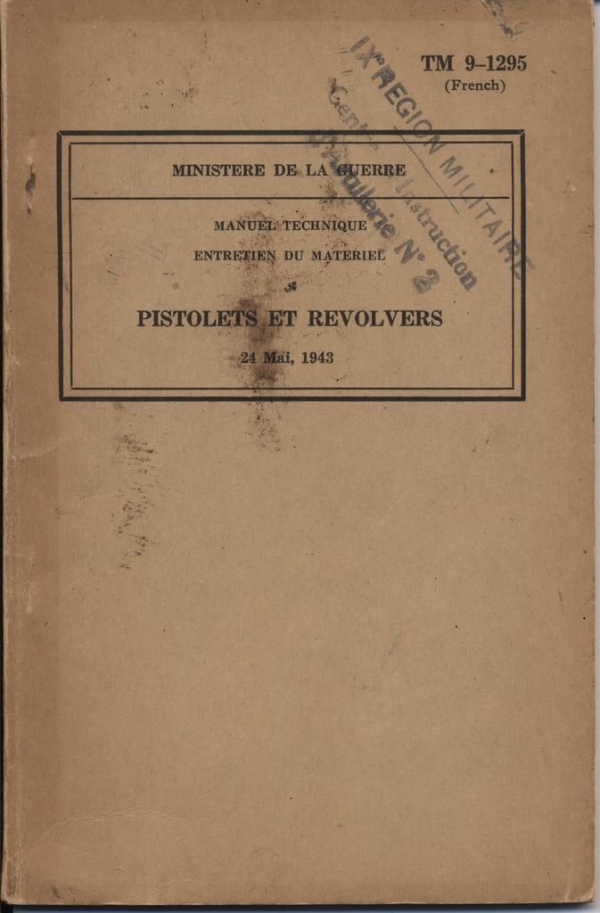 Manuel technique français 1947 PA 1911A1 Zn95lc