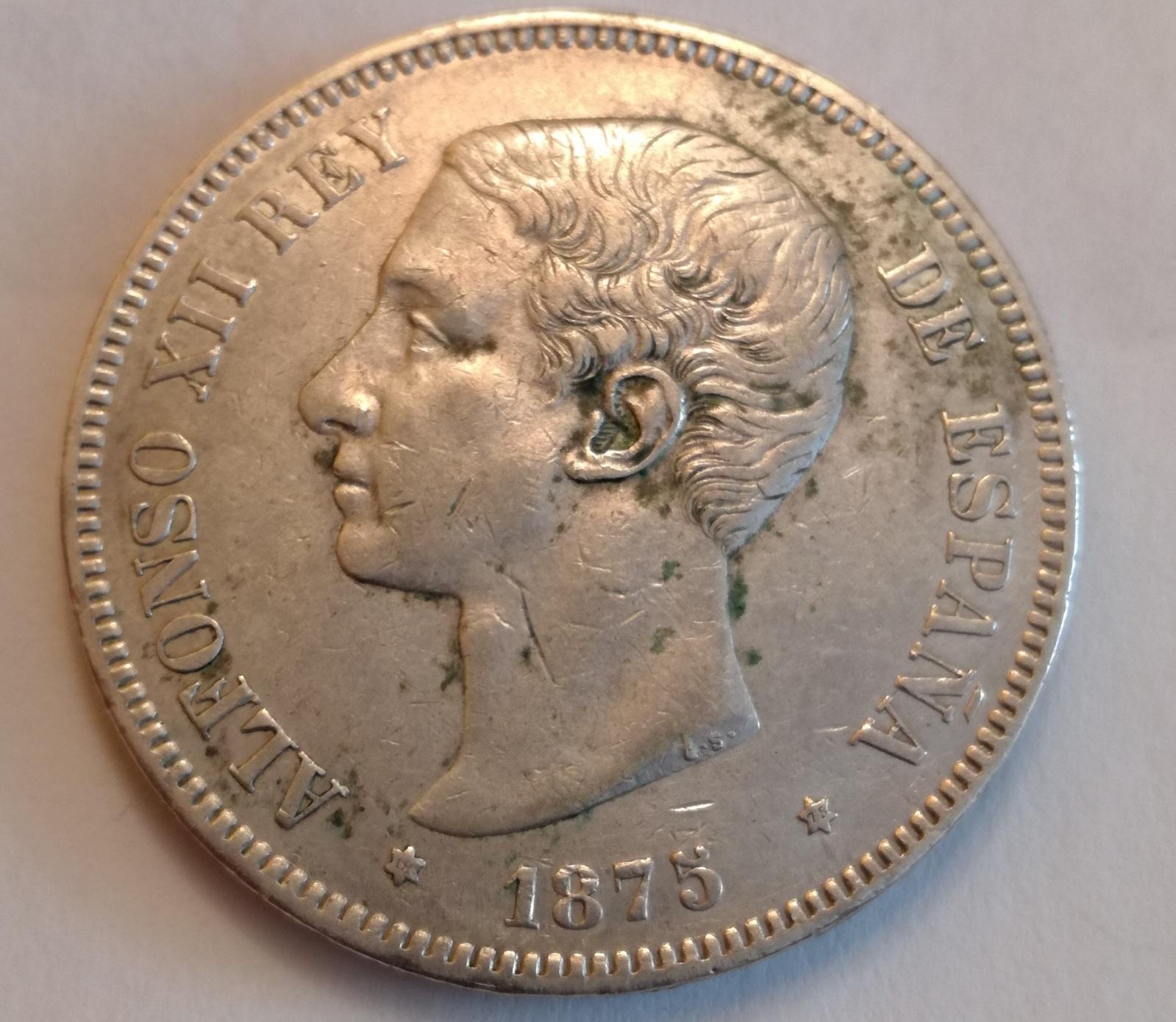 5 pesetas 1875*75 oreja rayada 14wgd1g