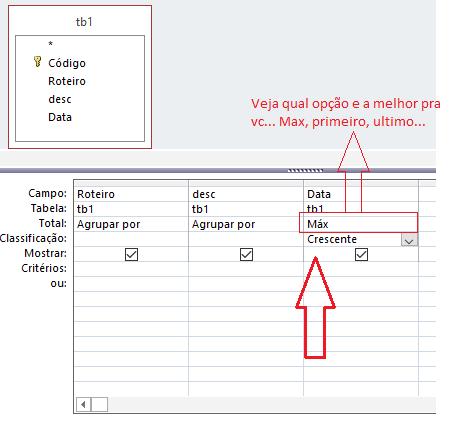 Como exibir apenas os registros com a data mais recente em uma consulta do MS Access 1g27i9