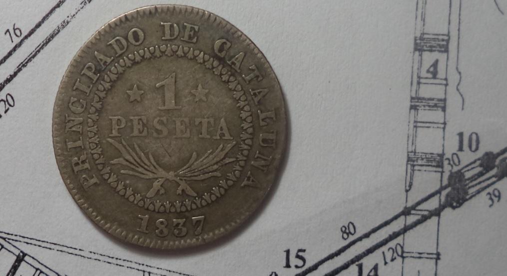 1 Peseta 1837. Isabel II. Barcelona 1ilm35