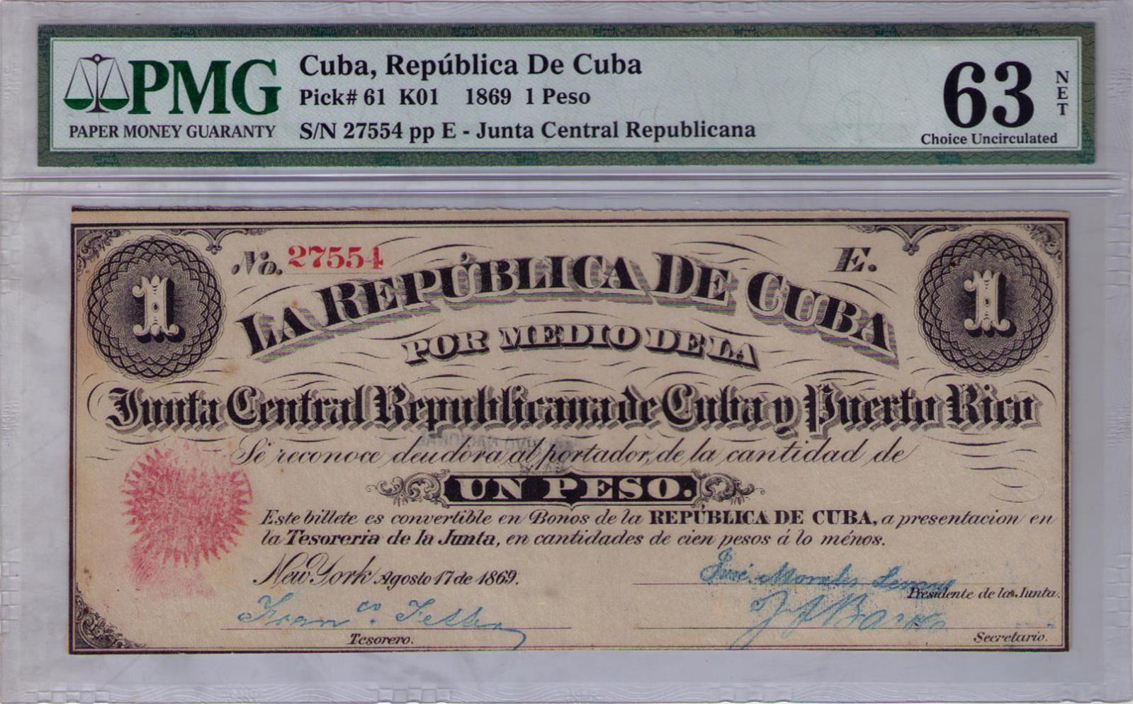 1 Peso 1.869 Junta Revolucionaria de Cuba y Puerto Rico 2dtaptz