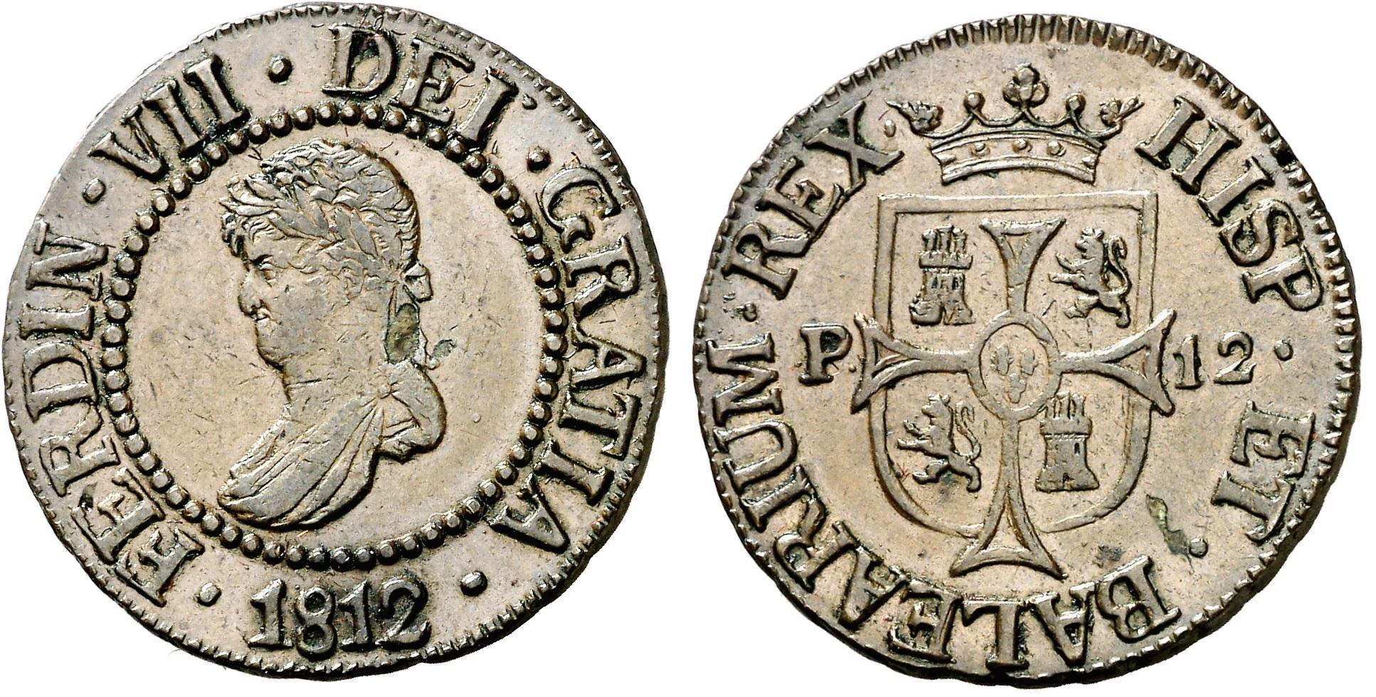 12 Dineros 1812. Fernando VII. Mallorca.  EBC/AU Ex Ramón Llull 2i7bz4p