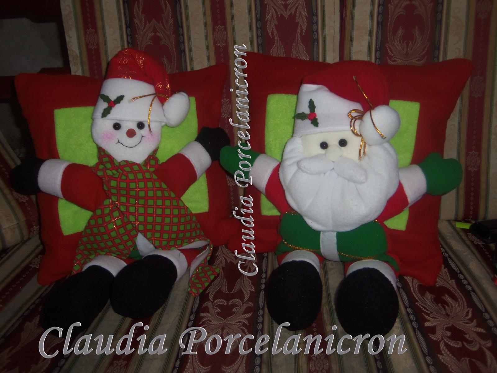 Moldes de cojines de Papa Noel y Muñeco de Nieve 2lvfd5h