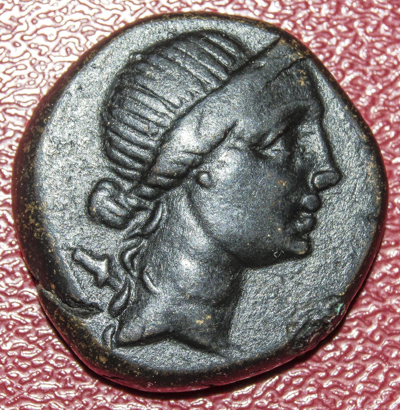 AE18 de Amisos (Pontos). Artemis a derecha. AMI-ΣOY. Trípode. 2sbk9cz