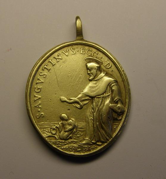 Medalla de San Agustin, y Sagrado Corazón, ¿siglo XVIII? (R.M. SXVIII-O302) 308zn5z