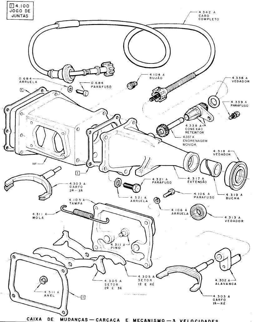 Motor 6cc com 3 marchas na Coluna 33agbj4
