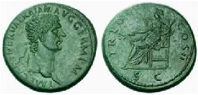 Sestercio de Trajano. TR POT COS ..... Pax sedente. 35mi23d