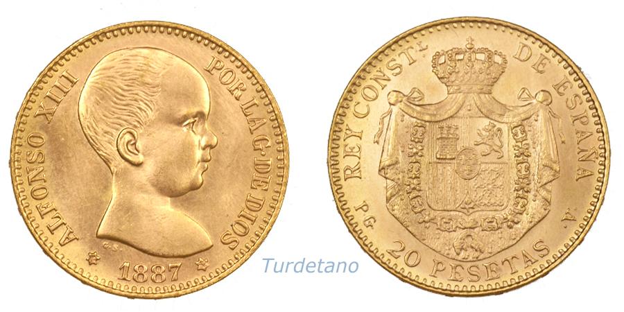 Reacuñaciones oficiales. 20 pesetas. 65u886