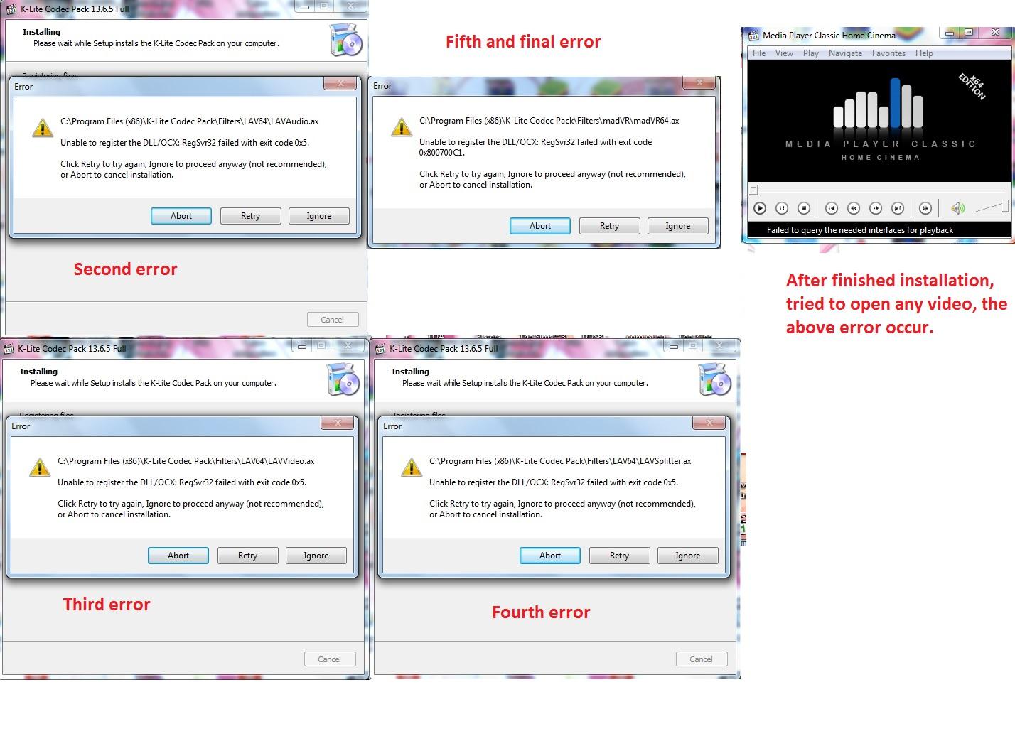 "Installation error ""Unable to register the DLL/OCX:RegSvr32 failed with exit code 0x5 Eredzt"