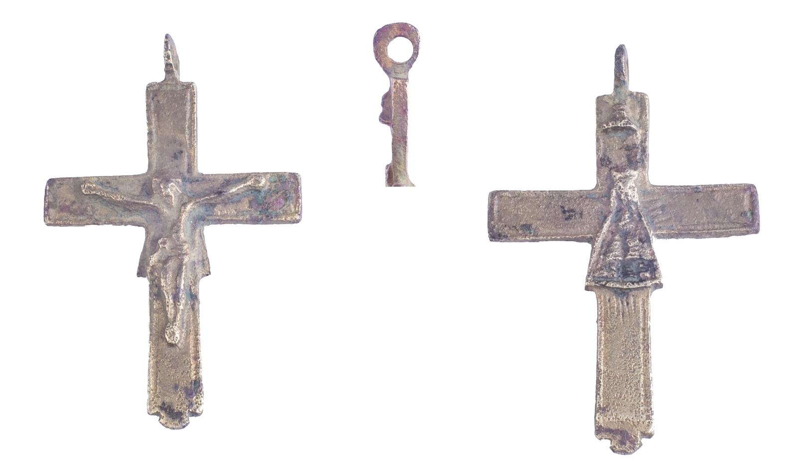 Crucifijo  bifaz  Notre Dame de Liesse, S. XVIII Eukdxc