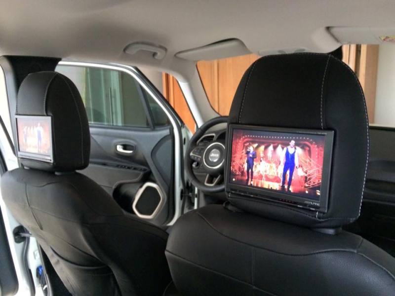Interface de vídeo com desbloqueio, Disqueteira DVD Alpine e monitores Alpine encosto cabeça com fones sem fio. Fem9na