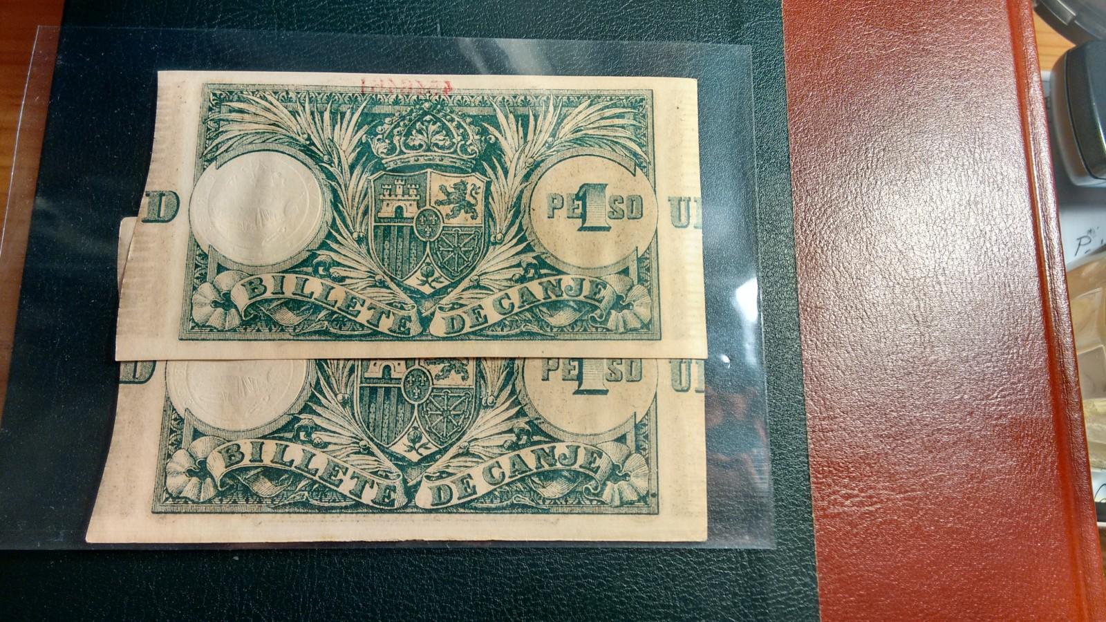 1 Peso 1895 Ultramar PUERTO RICO - Pareja correlativa - Ponce de León Sxddec