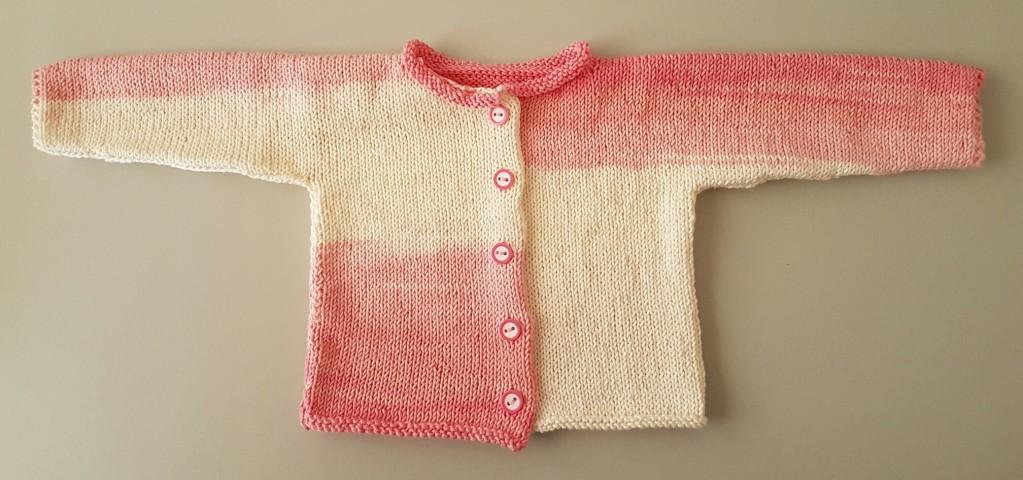 Chaqueta bebé primera puesta a dos agujas V6e1