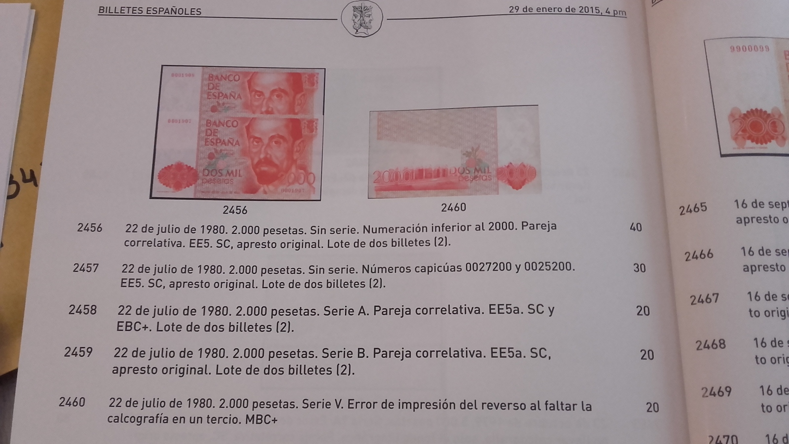 2000 pesetas, 1980, serie Y, con error en reverso. 160evwg