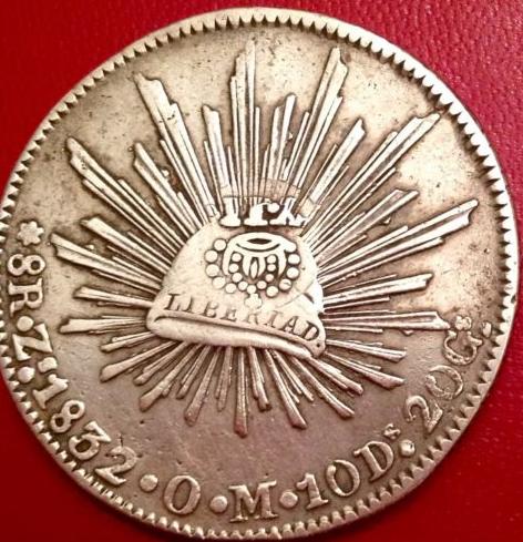 8 reales mejicanos  1832 . Resello Isabel II 23rjxvn