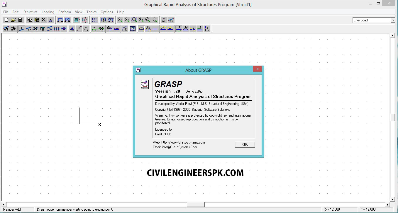 """GRASP """"Graphical Rapid Analysis of Structures Program"""" 2dvsyex"""