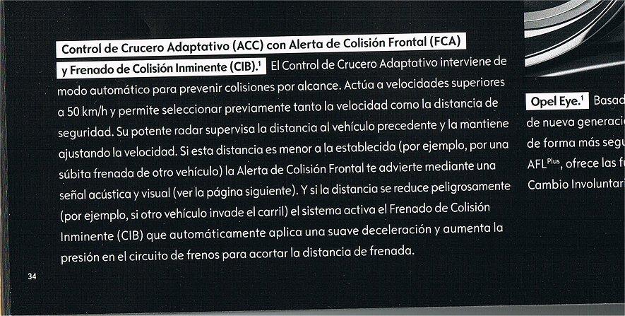 Posible control de crucero adaptativo ACC 2gy6ib7