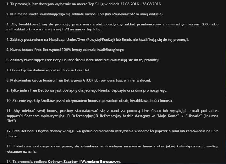 LSbet 200% do 1000 PLN + 100 PLN freebet bez ryzyka 2u8e8a1