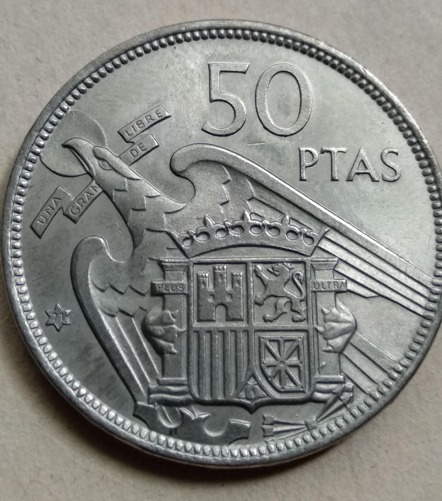 50 pesetas 1957 (*71). Estado Español. Procedente de tira 2zf8t91