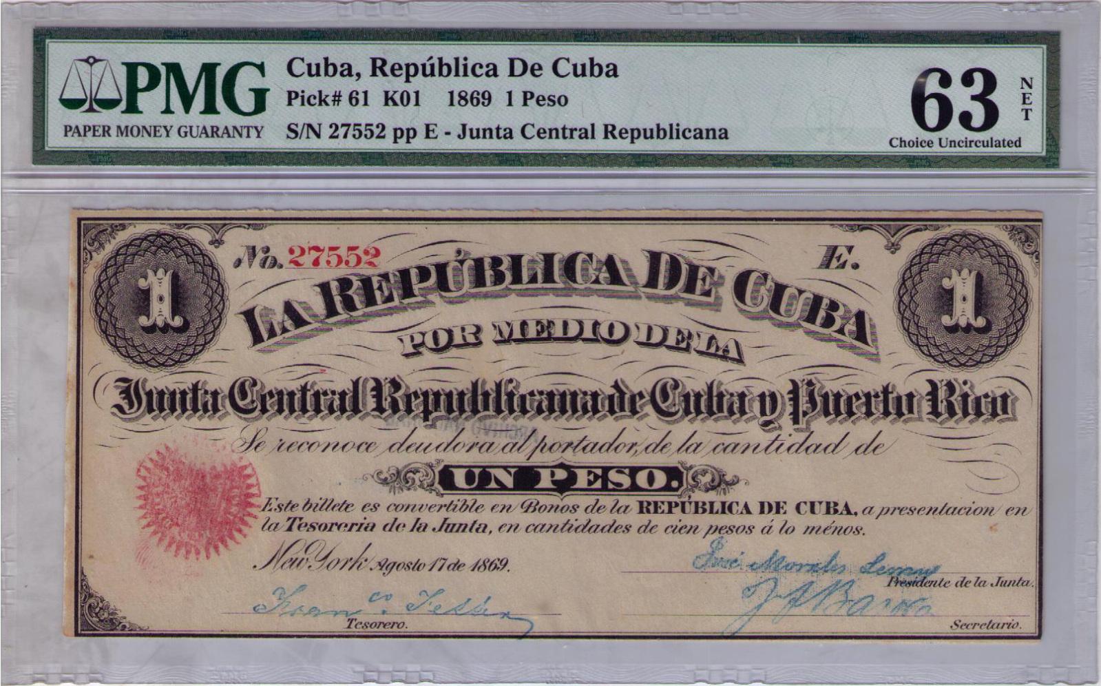 1 Peso 1.869 Junta Revolucionaria de Cuba y Puerto Rico 5558c8