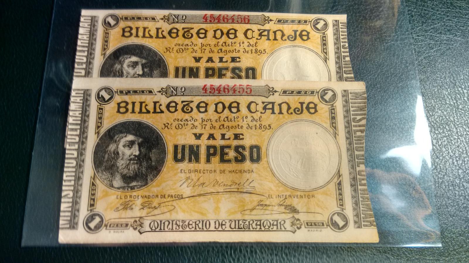 1 Peso 1895 Ultramar PUERTO RICO - Pareja correlativa - Ponce de León 9u1cut