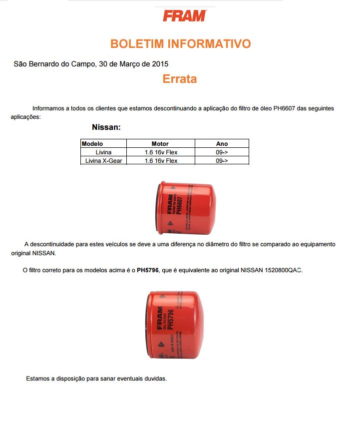 Atenção (e alteração) ao filtro de óleo original Nissan - Página 2 Ap8944