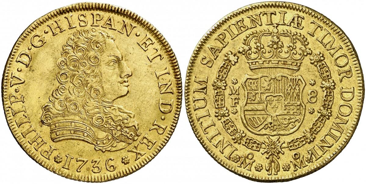 8 ESCUDOS FELIPE V 1736 FALSOS DE EPOCA K4a690